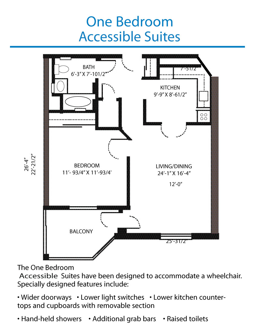 Floor Plan Of The Accessible One Bedroom Suite Quinte